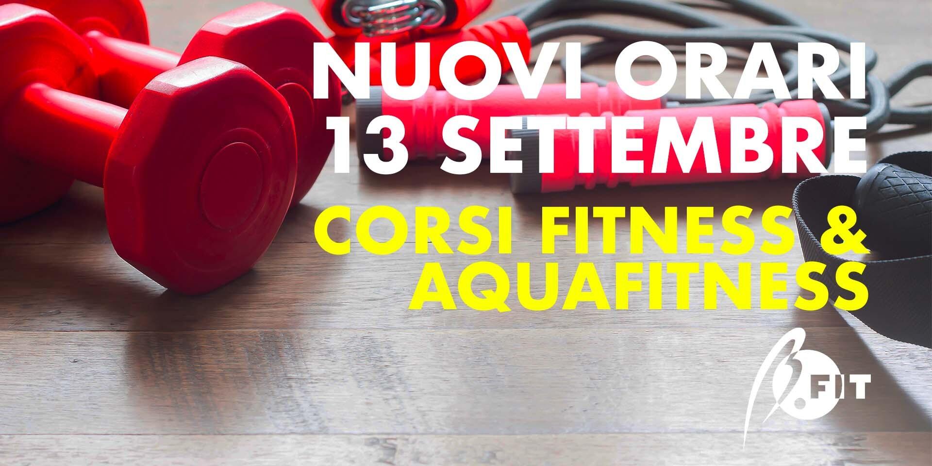 Banner nuovi orari corsi fitness&aquafitness dal 13/09/21