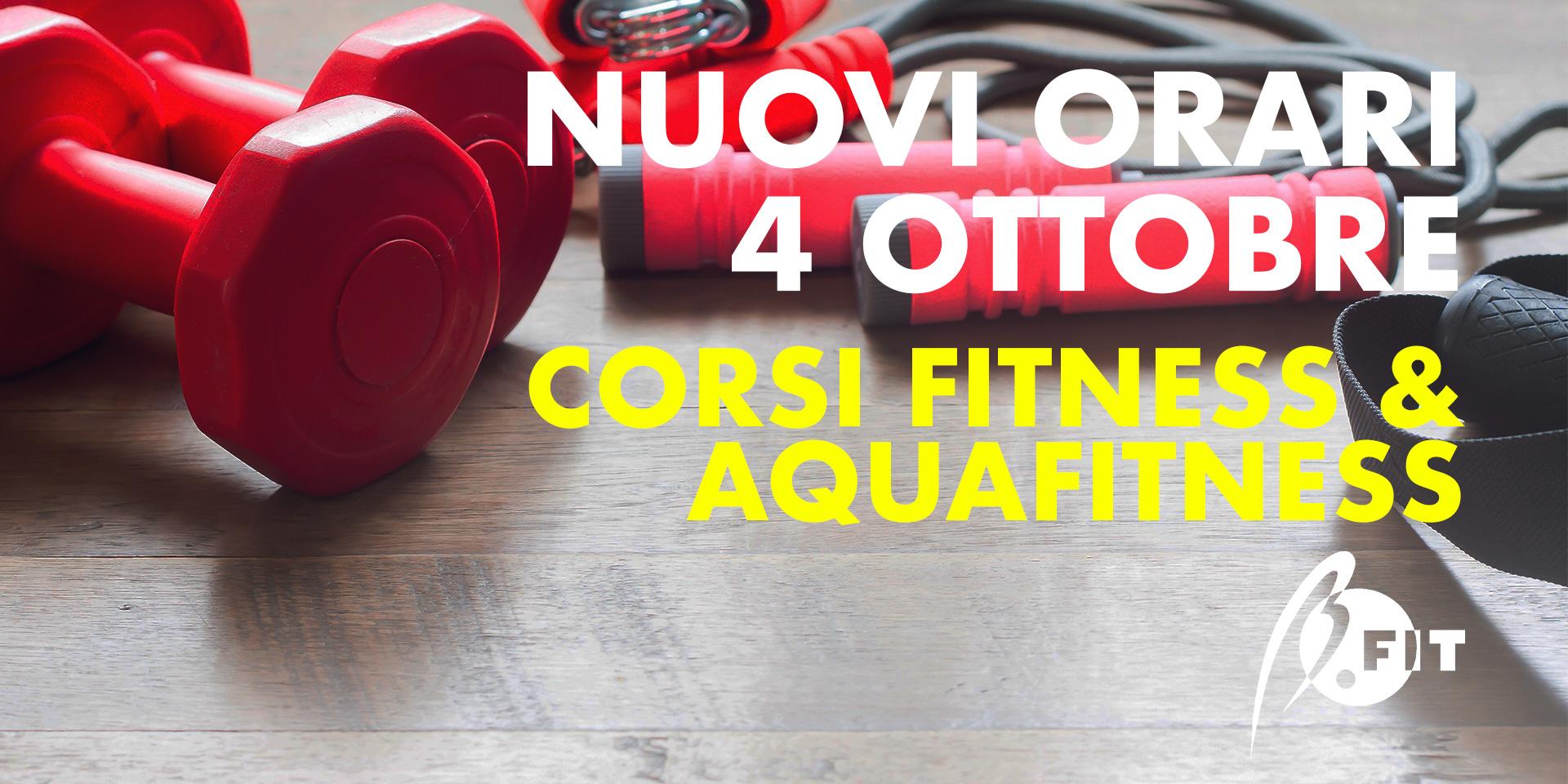 Banner nuovi orari corsi fitness&aquafitness dal 04/10/21