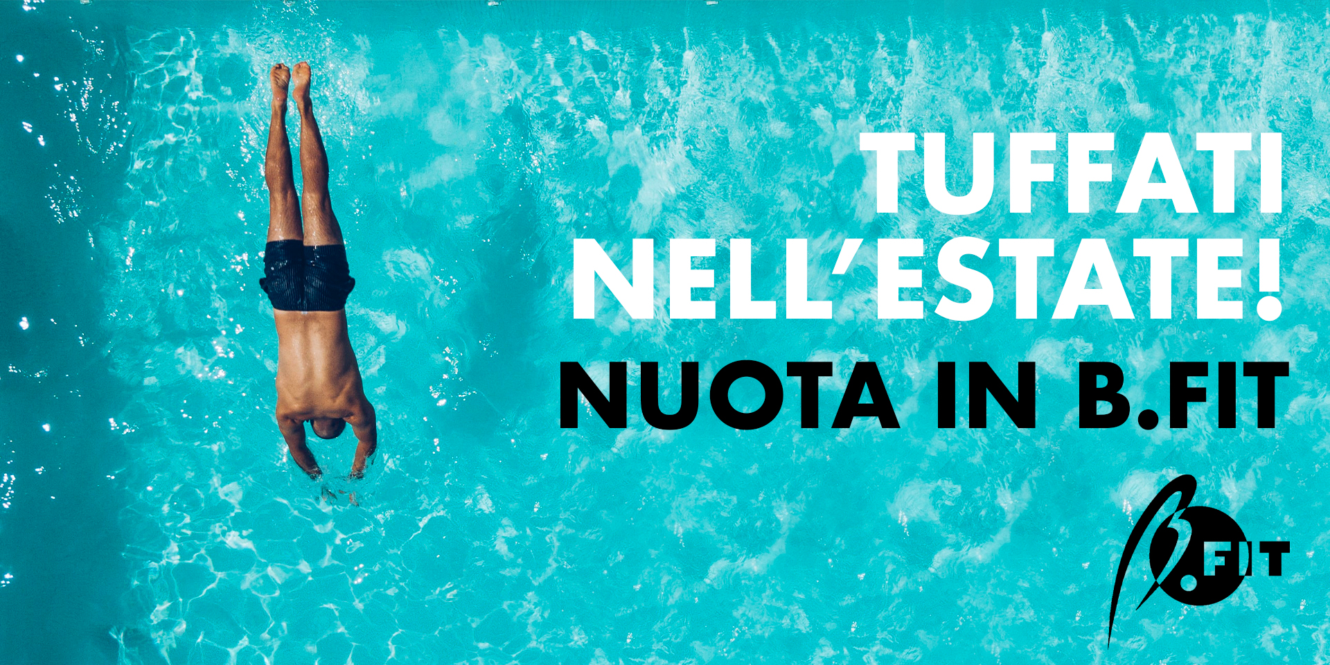 Banner vieni a nuotare in b.fit!